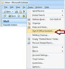 Microsoft Office Outlook Help Desk How To Use The Out Of Office Assistant In Outlook