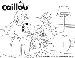 caillou coloring sheet u2013 movie night caillou coloring fun