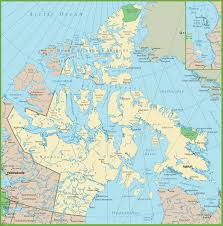 Baffin Bay On World Map by Map Of Nunavut With Cities And Towns