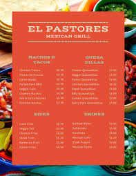 red teal mexican colorful grill restaurant menu templates by canva