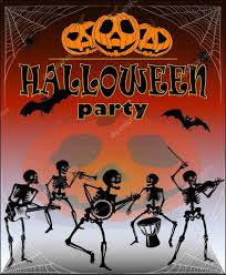 halloween bones background halloween pumpkins skeleton orchestra party poster bat