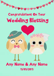 blessing card mint green owls personalised wedding blessing card