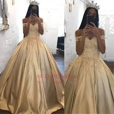 gold quince dresses the shoulder chagne gold gown evening dress appliques