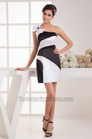 chic white and black one shoulder party homecoming dresses