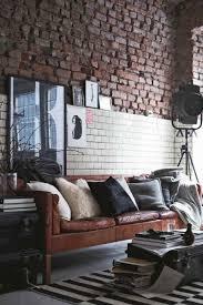 canapé style industriel design interieur salon style industriel mur brique canape cuir