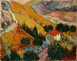 landscape with house and ploughman 1889 vincent van gogh
