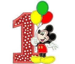 mickey mouse 1st birthday mickey mouse 1st birthday holding a balloons applique design 3 sizes