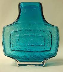 Whitefriars Glass Vase A Whitefriars Glass Tv Vase In Kingfisher Blue After Geoffrey