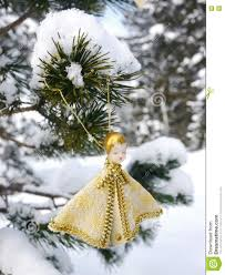 german christmas tree with homemade ornaments rr stock photo