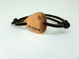 personalized sted jewelry copper guitar bracelet leather imagine personalized