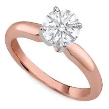 pink gold engagement rings pink gold classic solitaire engagement ring dome tapered band