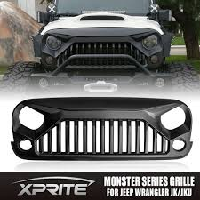 monster jeep jk xprite angry monster front matte black grille grill for 07 17 jeep