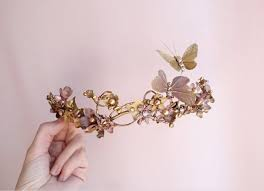 butterfly hair bridal hair gold bridal headpiece butterfly hair