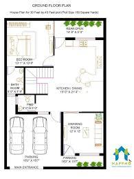 House Design 15 30 Feet 1 Bhk Floor Plan For 30 X 45 Feet Plot 1350 Square Feet