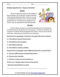 reading comprehension compare and contrast 2nd 3rd grade