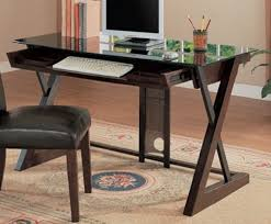 wood desk with glass top amazon com x leg desk with wood and metal in espresso finish black