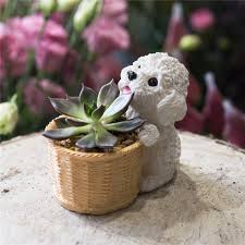 small planter indoor tabletop small teddy dog cactus succulents resin flower pot