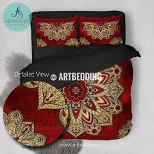 Cherry Duvet Cover Bohemian Bedding Cherry Red And Gold Mandala Duvet Cover Set