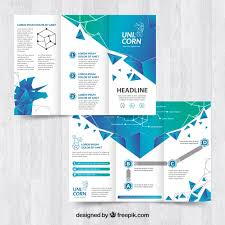 shiny blue trifold flyer template vector free download