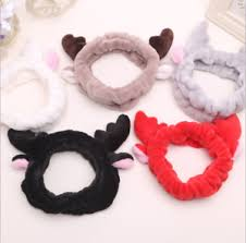 korean headband korean fluffy antlers unicorn coral velvet headband makeup wash