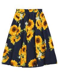high waisted skirts sunflower print high waist skirt floral skirts one size zaful