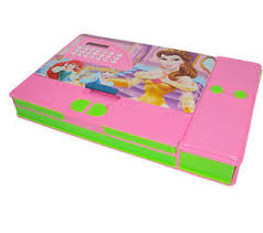 pencil box pink princess jumbo pencil box with inbuilt calculator button