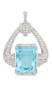 cartier an art deco platinum aquamarine and diamond pendant