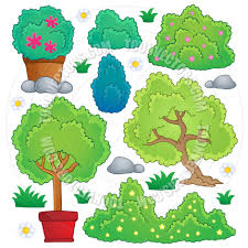 cartoon plants and bush theme by clairev toon vectors eps 65753
