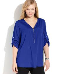 plus size blouses for work calvin klein plus size roll tab sleeve zip front blouse products