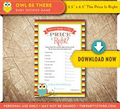 price is right baby shower game owl gender neutral theme boy