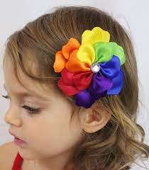 girl hair bows rainbow flower hair clip rainbow petals by sweetestbugbows 10 00