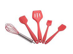 Red Kitchen Utensil Set - hst high quality red silicone kitchen utensil sets 5 pieces