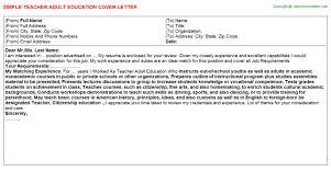teacher education cover letter