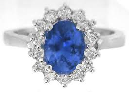 ring diana princess diana styled oval sapphire and diamond halo ring in 14k