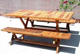 round wood folding picnic table with curved benches forever redwood