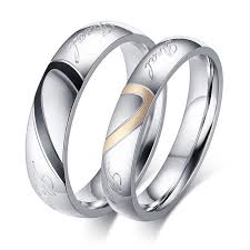 jewelry couple rings images Couple rings for men women hot sale simple titanium steel heart jpg