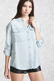chambray blouse high low chambray shirt forever21