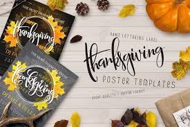 thanksgiving posters with lettering flyer templates creative