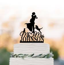letter wedding cake toppers custom wedding cake topper 2 dogs and groom silhouette