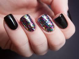 black and colored glitter nails pictures photos and images for
