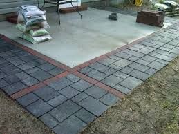 How To Cover A Concrete Patio With Pavers Patio Ideas Concrete Patio Expanded With Pavers Flagstones Http