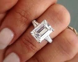emerald cut engagement rings emerald cut ring etsy
