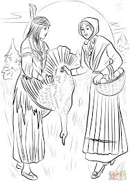 native american woman sharing turkey with pilgrim woman coloring