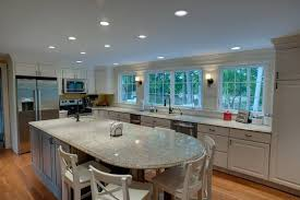 kitchen island area from the rounded end of the island great seating area