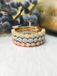 stackable diamond rings diamond rings set of three diamond bands 14k white yellow