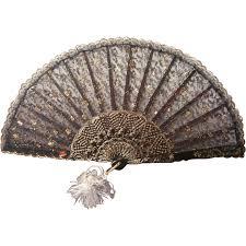 black lace fan fan vintage 1950s 1960s black gold lace faux tortoise