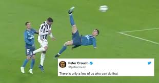 Peter Crouch Meme - peter crouch s response to ronaldo s bicycle kick has gone viral
