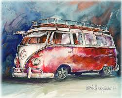 a deluxe 15 window vw bus painting by michael david sorensen a
