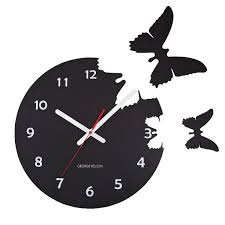 butterflies pop out clock modern black clock george nelson