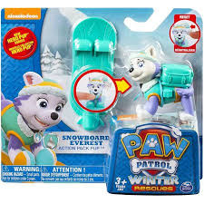 paw patrol action pack u0026 badge snowboard everest figure walmart